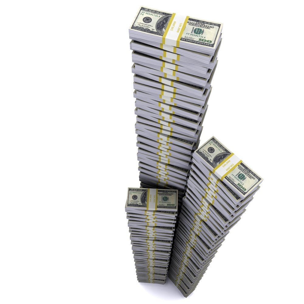 The Tower of reams of dollars aspirations in heaven. The symbol of financial success.jpeg