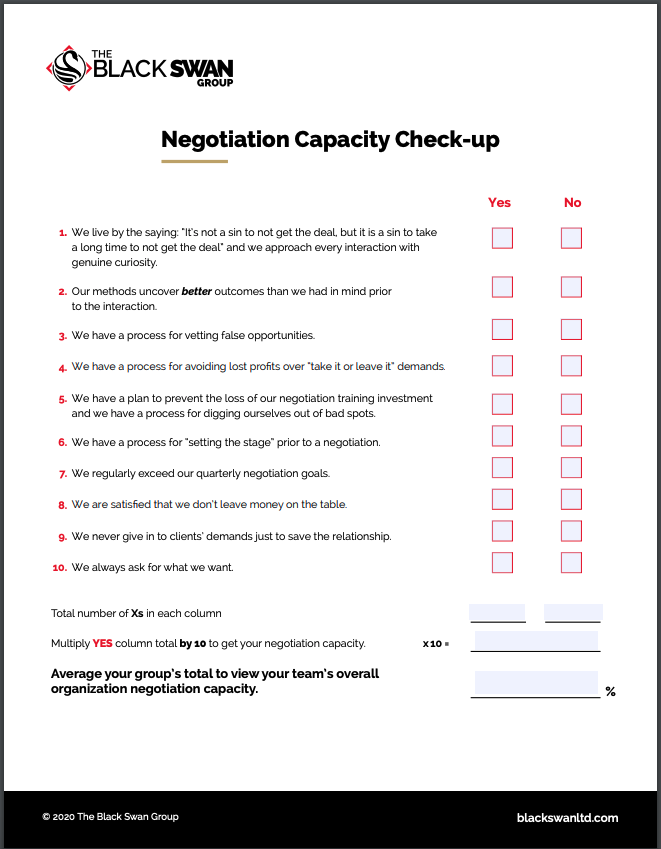 Negotiation Capacity Checkup